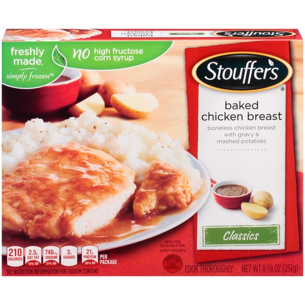 Stouffer's Classics Boneless chicken breast with gravy and mashed potatoes Baked Chicken Breast