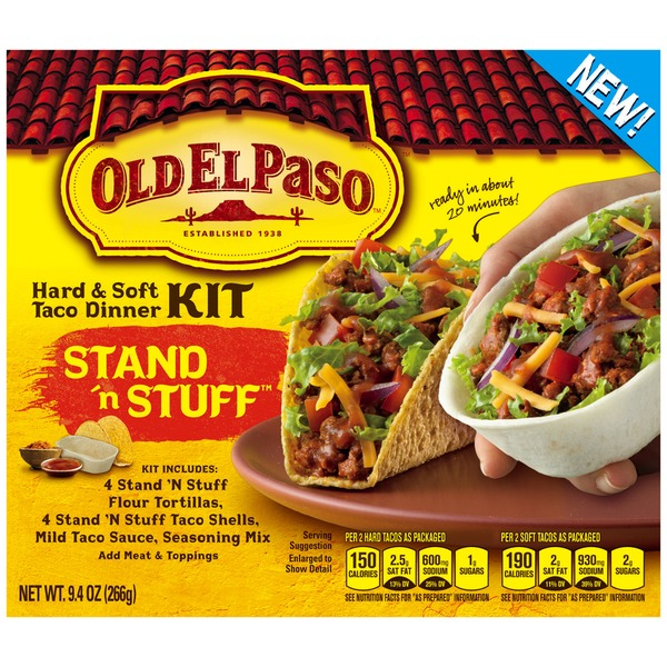 Old El Paso Stand 'n Stuff & Taco Boats Hard & Soft Taco Dinner Kit
