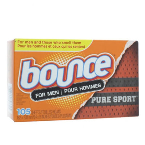 Bounce Fabric Softener Dryer Sheets Pure Sport 105CT Fabric Enhancers