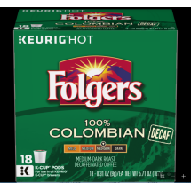 Folgers Colombian Medium Roast Decaffeinated Coffee K-Cup Pods 0.31 oz, 18 count
