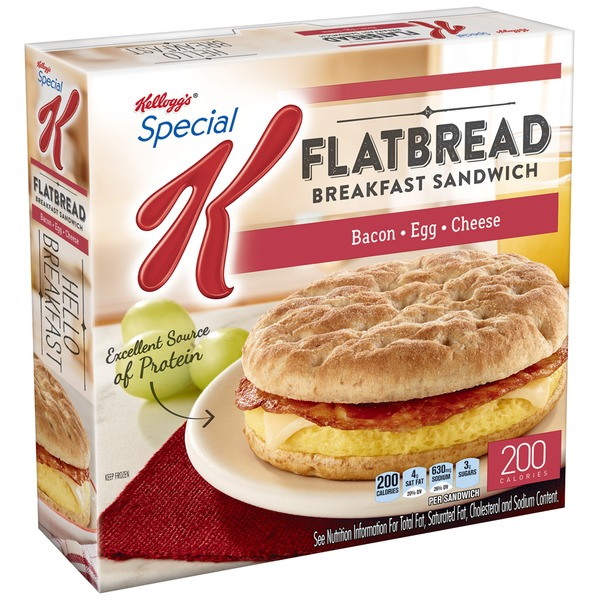 Kellogg's Special K Flatbread Bacon Egg & Cheese Breakfast Sandwiches