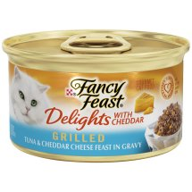 Purina Fancy Feast Delights Grilled Tuna & Cheddar Cheese Feast in Gravy Cat Food 3 oz. Can
