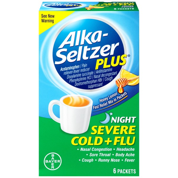 Alka-Seltzer Plus Severe Cold + Flu Night Honey Lemon Mix-in Packets Pain Reliever-Fever Reducer/Antihistamine/Nasal Decongestant/Cough Suppressant