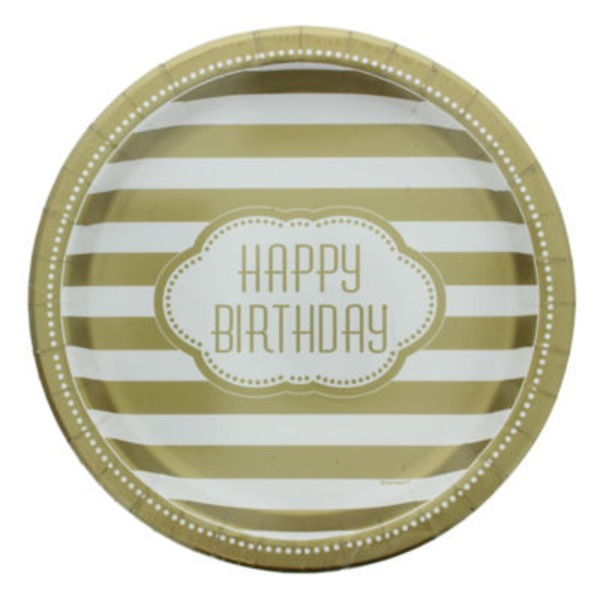 Unique 9 In. Golden Birthday Plates