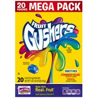 Betty Crocker Fruit Gushers Strawberry Splash/Tropical Variety Pack Fruit Flavored Snacks