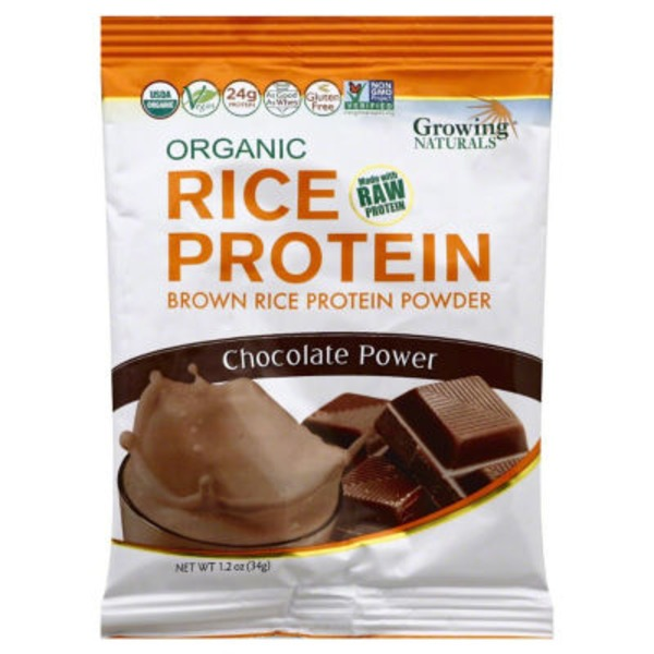 Growing Naturals Protein Powder, Brown Rice, Chocolate, Bag