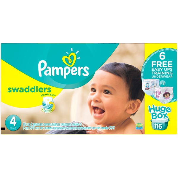 Pampers Swadlers Pampers Swaddlers Diapers Size 4 Bonus Pack 116 count Diapers