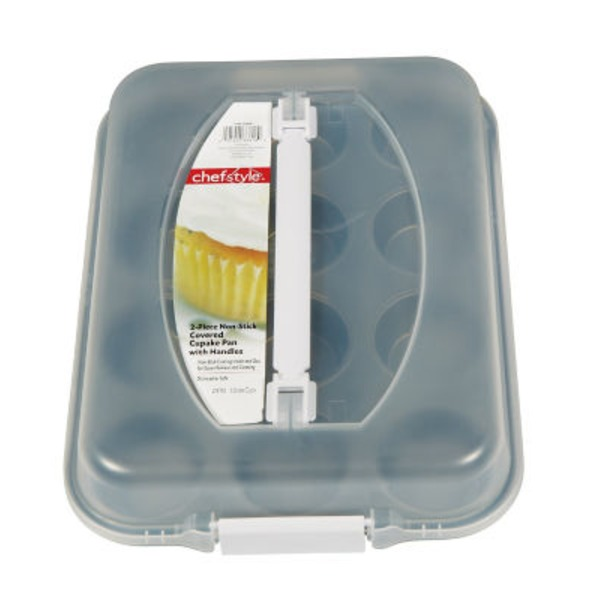 Chef Style 12 Cup Nonstick Covered Muffin Pan With Handles