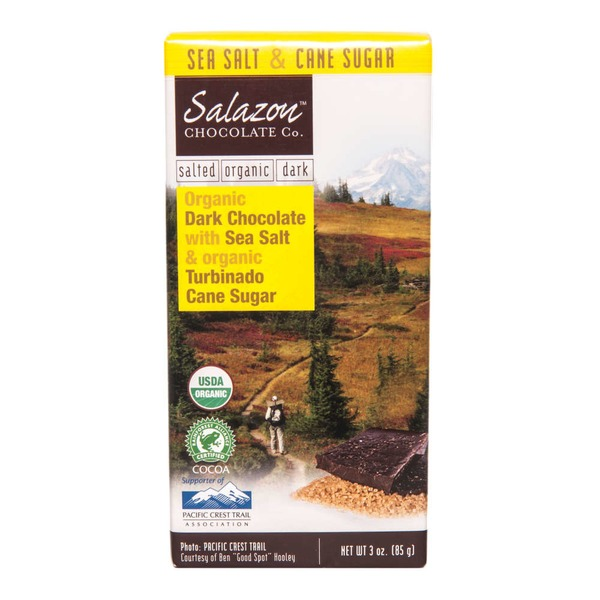 Salazon Chocolate Co. Organic Dark Chocolate Bar with Sea Salt and Turbinado Cane Sugar