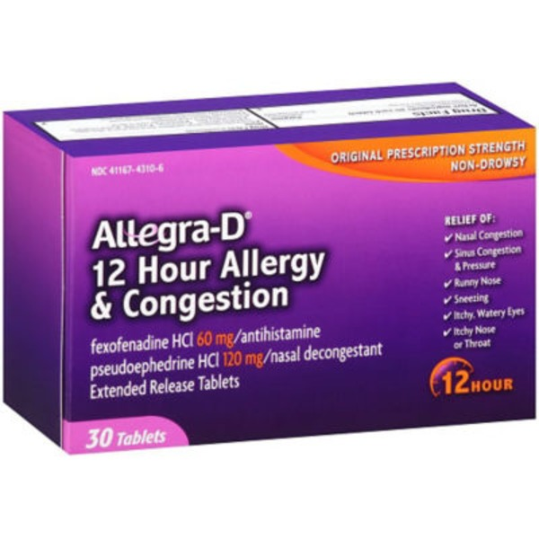 Allegra-D Allergy & Congestion 12 Hour - 30 CT