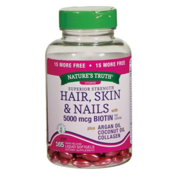 Nature's Truth Organic Superior Strength Hair, Skin & Nails 5000mcg Biotin Liquid Softgels Dietary Supplement