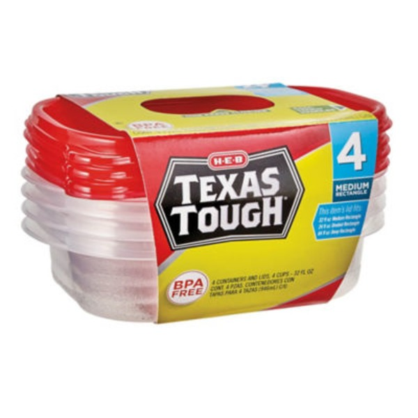 H-E-B Texas Tough Medium Rectangle Food Storage Containers