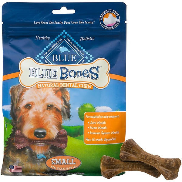 Blue Buffalo Dog Bones, Dental Chew, Small, Blue Bones, Bag