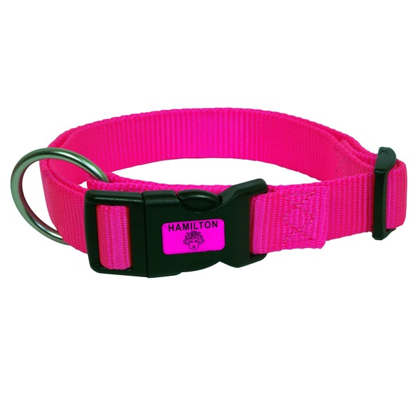Hamilton Adjustable Nylon Dog Collar In Pink Medium 10