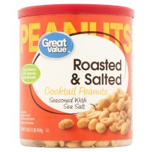 Great Value Roasted & Salted Cocktail Peanuts, 16 oz