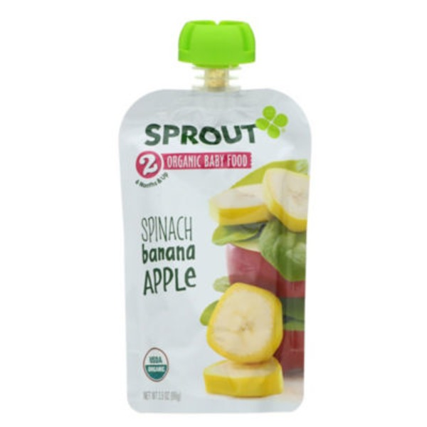 Sprout Creek Farm 2 Organic Baby Food, Spinach, Banana, Apple