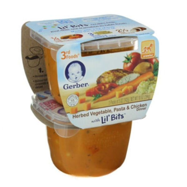 Gerber 3rd Foods Herbed Vegetable Pasta & Chicken Dinner with Lil' Bits Purees Dinner
