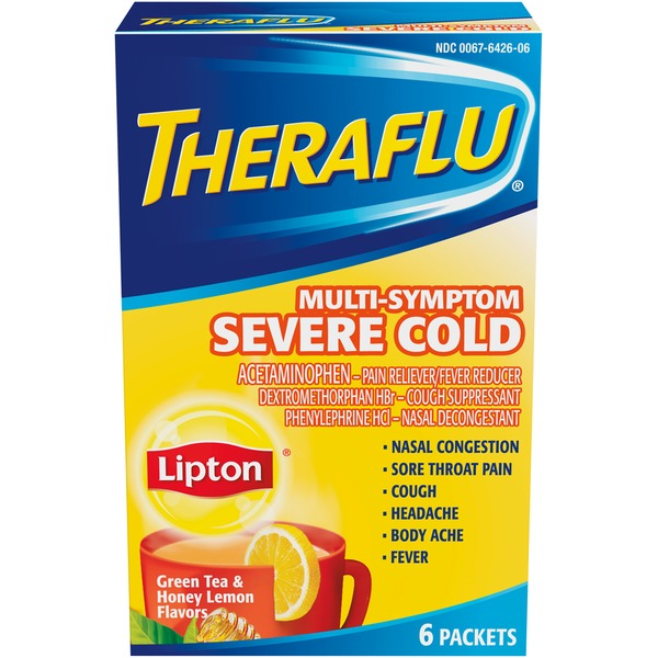 Theraflu Green Tea & Honey Lemon Flavors Multi-Symptom Packets Multi Symptom Severe Cold