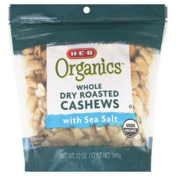 H-E-B Whole Dry Roasted Cashews With Sea Salt