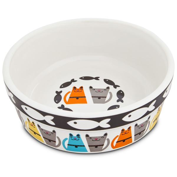 Harmony Tough Guys Ceramic Cat Bowl 1.75