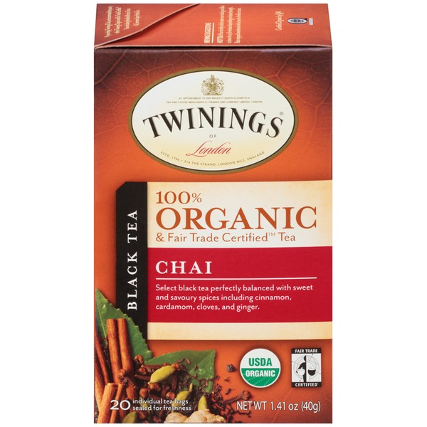 Twinings Organic & Fair Trade Certified Chai Black Tea Tea Bags