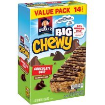 Quaker Big Chewy Chocolate Chip Granola Bars Value Pack, 14 count, 1.48 oz Bars