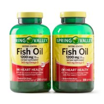 Spring Valley Fish Oil Enteric Softgels, 1200 mg, 200 Ct, 2 Pk