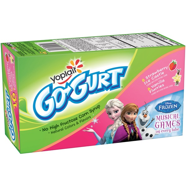 Yoplait Go-Gurt Disney's Frozen Strawberry Ice Castle/Vanilla Flurries Variety Pack Portable Low Fat Yogurt with Musical Games in Every Tube