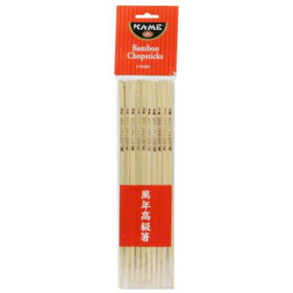 KA-ME All Natural Bamboo Chopsticks - 5 CT