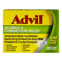 Advil Allergy & Congestion Relief (20 Count) Pain Reliever / Fever Reducer Coated Tablet, 200mg Ibuprofen, Sneezing, Nasal Decongestant, Sinus Pressure