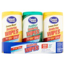 Great Value Disinfecting Wipes, 1 Fresh Scent 2 Lemon Scent, 225 wipes, 3 Pack