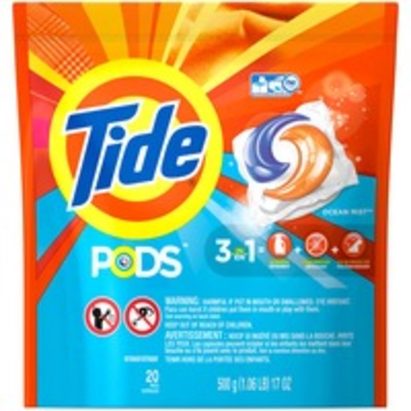 Tide PODS HE Turbo Laundry Detergent Pacs, Ocean Mist Scent, 20 count Laundry