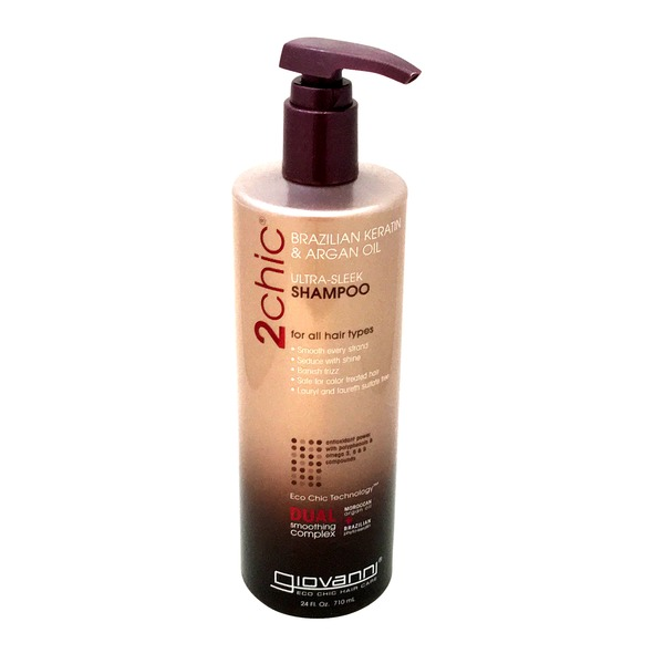 Giovanni Shampoo, 2 Chic, Brazilian Keratin & Argan Oil, Ultra-Sleek, Bottle