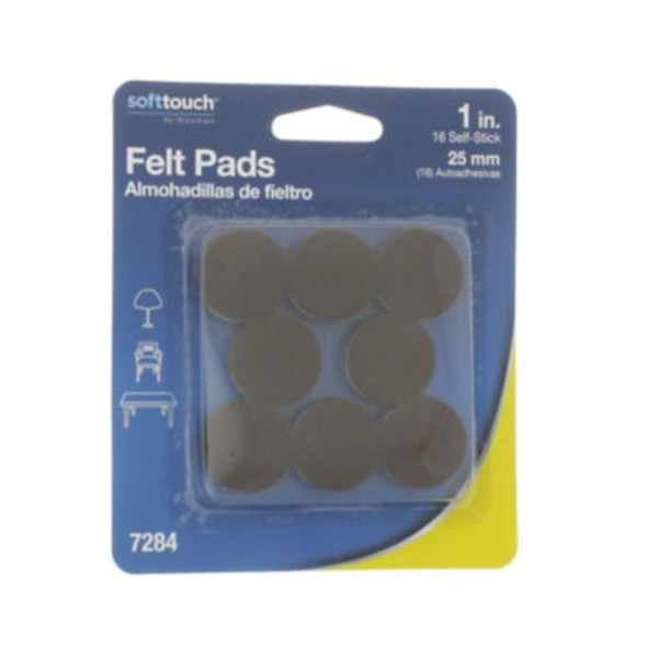 Waxman Felt Pads, 1 in, Soft Touch, Blister Pack