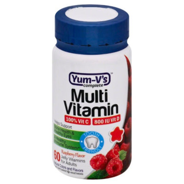 Yum V's Complete Multivitamin, Adult Raspberry Jellies