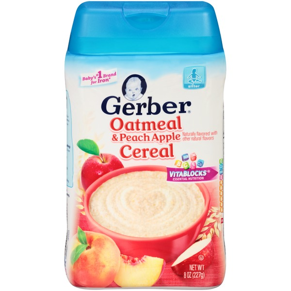 Gerber Cereal Gerber 2F Oatmeal & Peach Apple Cereal Base Cereal Fruit