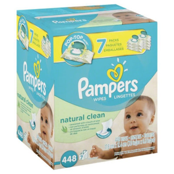 Pampers Natural Aloe Pampers Baby Wipes Natural Clean 7X 448 count  Baby Wipes