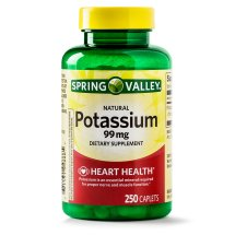 Spring Valley Potassium Caplets, 99 mg, 250 Ct