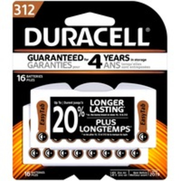 Duracell Hearing Aid Size 312 batteries with EasyTab 16 count Specialty Batteries