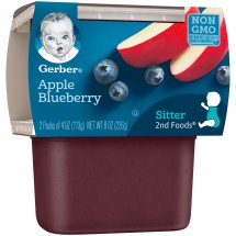 Gerber 2nd Foods Apple Blueberry Baby Food, 4 oz Tubs, 2 Count