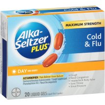 Alka-Seltzer Plus Maximum Strength Day Cold & Flu Liquid Gels 20 ct Box