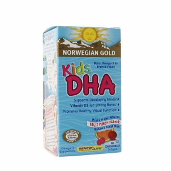 Renew Life Norwegian Gold Kids DHA Chewables Fruit Punch Flavor