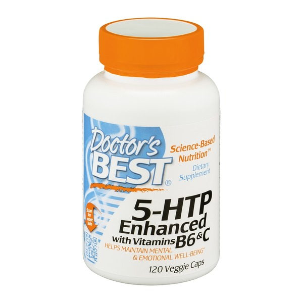 Doctor's BEST 5-HTP Enhanced With Vitamins B6 & C Veggie Caps - 120 CT