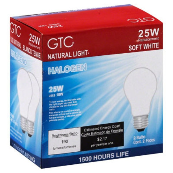 GTC 25 Watt Halogen Soft White Light Bulbs