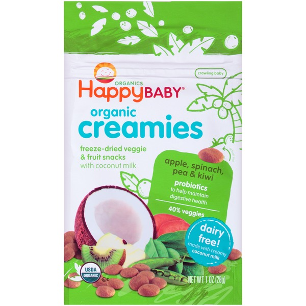 Happy Baby/Family Organic Creamies Apple, Spinach, Pea & Kiwi with Coconut Milk Freeze-Dried Veggie & Fruit Snacks
