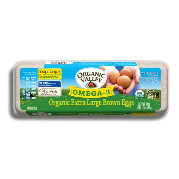 Organic Valley Omega-3 Organic Extra-Large Brown Eggs