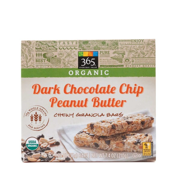 365 Organic Dark Chocolate Chip Peanut Butter Chewy Granola Bars