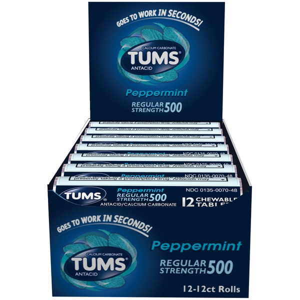 Tums Regular Strength Peppermint Chewable Tablets Antacid