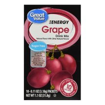 Great Value Energy Drink Mix, Grape, Sugar-Free, 1.1 oz, 10 Count