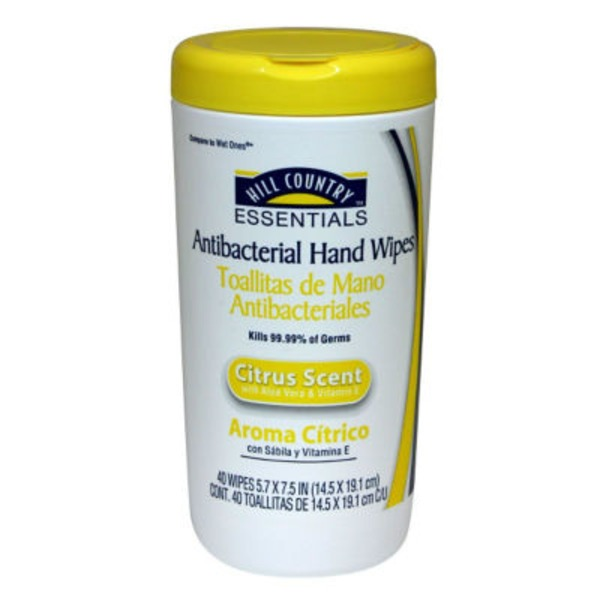 Hill Country Essentials Antibacterial Citrus Scent Hand Wipes